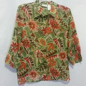 Alfred Dunner Semi-Sheer Floral Top Size 16W